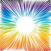 rainbow circle of transition to white as magical swirl waves as frame - stock illustration