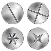 silver several screw and thumbtack heads - stock illustration