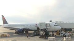 Delta airline preparing for take off - stock footage