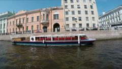 ST. PETERSBURG, RUSSIA, JUNE 06 2014: Fontanka River and moored boats Stock Footage