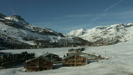 Stock Video Footage of Tignes Le Lac, Tignes 2100, France static mid shot