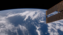 4K UHD Looking Behind the ISS at North Africa and Western Europe - stock footage