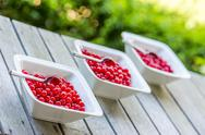 Stock Photo of three bowls filled with healthy red currant