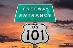 us 101 freeway sign sunset - stock photo