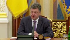 Stock Video Footage of President of Ukraine Petro Poroshenko at meeting of National Security Council.