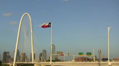 Margaret Hunt Bridge And Dallas Skyline Stock Footage