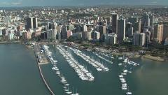Aerial of Durban's Victoria embankment and Yacht Mole Stock Footage