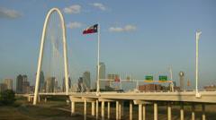 Dallas Skyline From Margaret Hunt Bridge Stock Footage