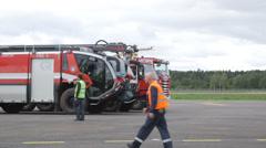 Airport crash tenders Stock Footage