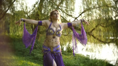 Belly danceer outside seductive sensual Stock Footage