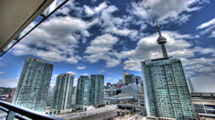 Toronto skyline time lapse HDR day clouds Stock Footage