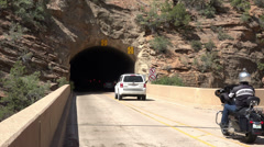 Motorcycle tour Mount Carmel Tunnel Zion NP Utah HD Stock Footage