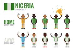 nigeria soccer icons - stock illustration