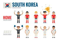 south korea soccer team - stock illustration