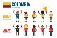 colombia soccer icons flat design - stock illustration