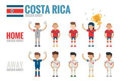 Costa rica soccer team icons Stock Illustration