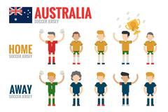 australia soccer team - stock illustration