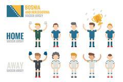 bosnia and herzegovina  soccer icons - stock illustration