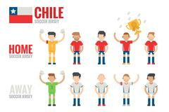 Chile soccer icons Stock Illustration