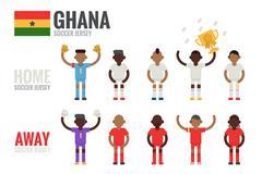 Ghana soccer team character Stock Illustration