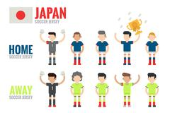 japan soccer team character - stock illustration