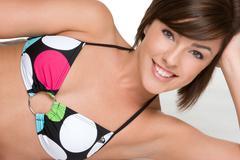 Smiling bikini girl Stock Photos
