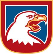 Stock Illustration of american bald eagle head shield retro.