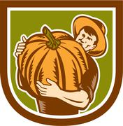 Stock Illustration of organic farmer holding pumpkin shield retro.
