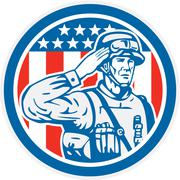 Soldier military serviceman salute circle retro Stock Illustration