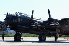 avro lancaster, painted with markings of ropey, another lanc from the 419 squ - stock photo