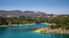 Lake Hollywood Reservoir with view on Hollywood Sign Stock Footage