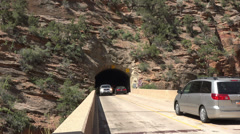 Zion National Park Mount Carmel Tunnel traffic HD Stock Footage