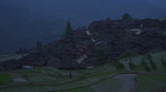 Night of rice paddy village Stock Footage