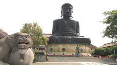 Big Buddha Statue from Bagua Mountain Temple in Central Taiwan Stock Footage