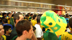Brazilian fans go to the first game of the Brazilian World Cup 2014 Stock Footage