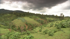 Ethiopia - Lush Hilly Landscape Before Storm - Stationary Stock Footage