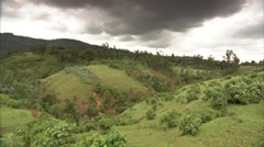 Ethiopia - Lush Hilly Landscape Before Storm - Pan Stock Footage