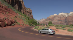 Scenic Zion National Park road and lookout mountains HD 157 Stock Footage