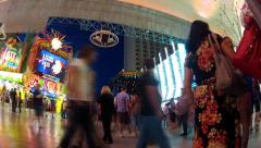 Fast Motion People Walking On Fremont Street- Las Vegas NV - stock footage