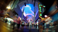 Fast Motion Rolling On Fremont Street Las Vegas NV Stock Footage