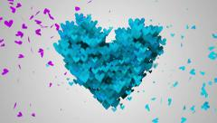Stock Video Footage of Blue Love Particles Heart Shape 3D Loop Animation - 4K Resolution Ultra-HD