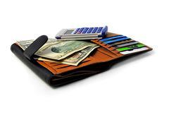 Personal finances - wallet calculator credit cards Stock Photos