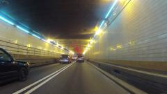 Driving Through the Holland Tunnel from New Jersey to Manhattan Time Lapse Stock Footage