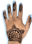 Henna hena mehendi design - isolated blue nails and grey shadow Stock Photos