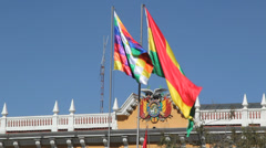 La Paz flags & government seal c Stock Footage