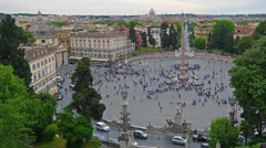Rome, Italy, Piazza del Popolo, high angle view, time-lapse. Stock Footage