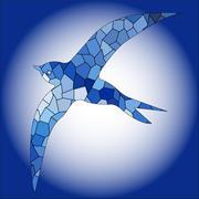 Swallow bird blue color mosaic - stock illustration