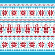 Christmas vector card - traditional seamless knitted pattern - stock illustration
