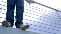Businessman Doing Suicide Jump From Bridge Stock Footage
