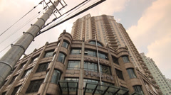 View at high rise Condominium at Shanghai Former French Concession - stock footage
